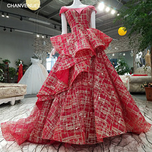 LS08741# lace up o-neck cap sleeve flowers red applique sweep train evening dress shopping online vestido de fiesta real photo(China)