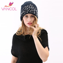 2017 New Arrival Winter Hats for Women Men with Sequins Crystals Skullies Beanies Cap Purple Grey Blue Warm Women's Knitted Hats(China)