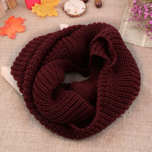 Women knit cowl neck scarf Winter Soft Warm 2 Circle Cable Wool Blend Cowl Long Scarf Shawl Girl Unisex wool Scarf Sale