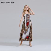 Mr Hunkle Women's MAXI Dress Spaghetti Strap White Cotton Dashiki Dresses African print Dresses for women African Vestidos(China)