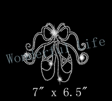 Free shipping Rhinestone Transfer Ballet Slippers with Ribbons Iron On Bling(China)