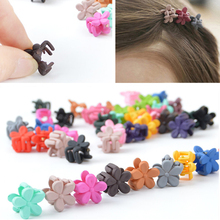 10 Pcs/lot Mixcolor Candy Color Mini Small Hair Claw Girls Hair Clips Kids Flower Hair Accessories