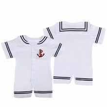 2017 Newborn Baby Clothes White Navy Sailor Uniforms Summer Baby Rompers Short Sleeve One-piecesJumpsuit Baby Boy Girl Clothing