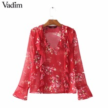 Women floral print ruffles v neck chiffon shirts long sleeve red blouses European style ladies fashion brand tops blusas LT1670
