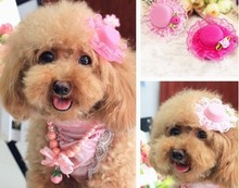 pet accessories Lovely Pink Lace Rose Pets Hat hairpin / Poodles Dogs / Cat Grooming For Girls Jewlery. MF
