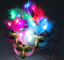 Led Feather Venetian Masquerade Mardi Gras Half Feather Mask/ Prom Party Dance Mask Face Cosplay Carnival Women's Feather Mask