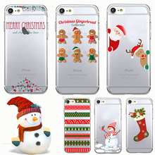 Fashion Merry Christmas Snowman Biscuits Sock Lovely Transparent Soft TPU Phone Case Cover Coque Capa for iPhone 7 6 plus 5 SE