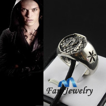 Wholesale The Mortal Instruments City of Bones Angelic Power  Morgenstern Family ring with leather chain for men Gift Jewelry