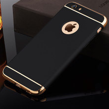 Phone case 3-in-1 Luxury Plating Scrub Simple Protective case On The for iPhone 5 5S SE 6 6s 7 Plus Coque Bumper Cases Bags