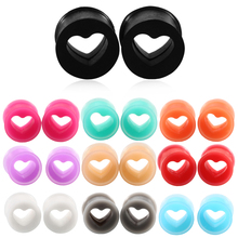 2PCS Silicone Ear Plugs and Tunnels Heart Shape Flexible Ear Plugs Ear Expanders Tunnel Earrings Gauges Body Jewlery Piercings(China)