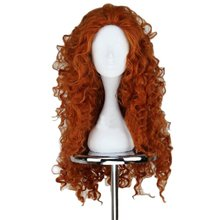 Movie Brave Long Curly Princess Merida Cosplay Wig for Cosplay orange hair with hair net