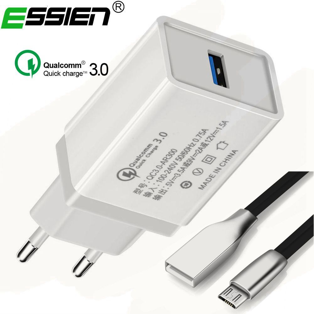Essien Smart Travel Dual QC 3.0 USB Quick Charger Adapter Wall EU/UK/US Plug Cell Phone Charger iPhone 8 X Samsung Xiaomi
