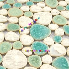 Beige Porcelain Tiles Pebble Bathroom Floor Tile Matt White Glazed Mosaic Kitchen Backsplash Swimming Pool Decor(China)