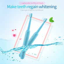 Oral Hygiene IPX 7 Waterproof Battery Powered Electric Toothbrush+2 pcs Replaceable Brush Heads Deep Clean Teeth Brush Blue