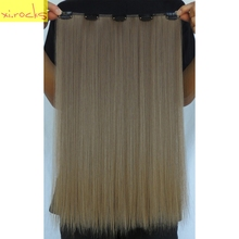 2 Piece Xi.rocks 5 Clip in Hair Extensions 20inches Synthetic Hair Clips Extension 50g Straight Hairpiece Sandy Taupe Color 68