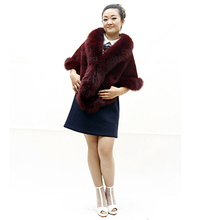 2016 Fashion Large Size Rex rabbit fur Fur Women Wrap Stole Cape Winter Warm Ladies real fur Shawl with big fox fur collar