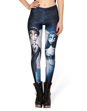 Hot! Autumn Custom Lddies Fitness CORPSE BRIDE LEGGINGS Digital Printed Milk Vintage Plus Size Pants For Women S106-377(China)