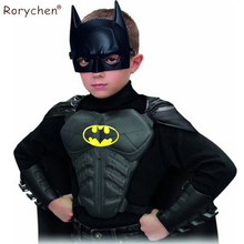 Rorychen 2017 Halloween Party Cosplay Batman Costumes Children Clothing Kids Superhero Mask + Cloak + Wristguard + Breastplate(China)