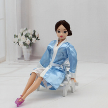 2pcs/set Bedroom Pajamas Robe Night Bathrobe Clothes For Barbie Dolls Robe & Shorts Doll Child Kids Best toys gift(China)
