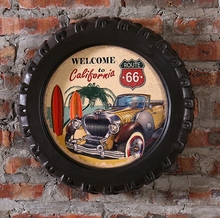 ROUTE 66 Large Car Tires MDF Foaming Sign Vintage Wood Painting Cafe Bar Decor Retro Mural Poster Wall Sticker 40X40X7 CM
