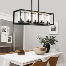 Post-modern New Nordic rectangular Restaurant dining room Kitchen table cafe  lustres pendant lights suspension luminaire lamp