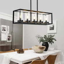 Post-modern New Nordic rectangular Restaurant dining room Kitchen table cafe lustres pendant lights suspension luminaire lamp(China)