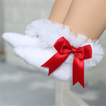 Toddlers Bebe Cotton Lace Ruffle Frilly Ankle Short Socks Kids Princess Baby Girl Socks Retail one pairs Christmas gift(China)