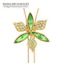 Neoglory Austrian Crystal Tassel Long Necklaces Pendants for Women Brand Girl Fashion Statement jewellery Gift 2017 New Hot JS3