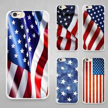 american flag Hard White Cell Phone Case Cover for Apple iPhone 4 4s 5 5C SE 5s 6 6s 7 8 Plus X
