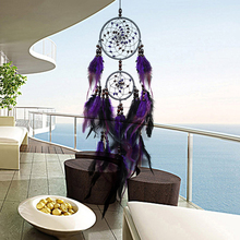 New Feather Crafts Purple Dream Catcher Wind Chimes Handmade Dreamcatcher Net With Feather Beads for Wall Hanging Home Decor(China)