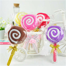 Lollipop Shape Packing Baby Bridal Washcloth Hand Shower Towel Party Wedding Favor Xmas Towel Gift Color Randomly
