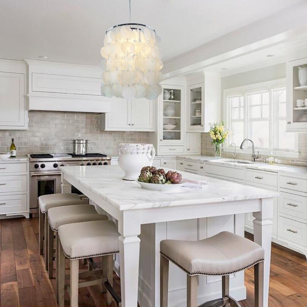 DIY modern white natural seashell pendant lamps E14 LED shell lighting for dining room living room kitchen bedroom home fixture<br>