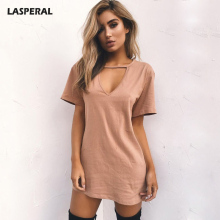 LASPERAL Heart V Neck Cotton Dresses 2017 New Solid Casual Loose Summer Dress Women A-Line Casual Mini Dress 3XL Female Vestidos