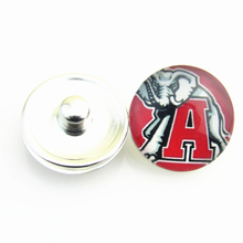 12pcs/lot Fashion NCAA Alabama red tide Glass Snap Button Sports Team Logo Charms for 18mm Snap Bracelet Jewelry(China)