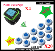 New Arrival K-300Plus Wirst Receiver Watch x4pcs And Table Call Button x20pcs For Restaurant Waiter Call Bell System(China)