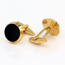 Luxury Gold-color Baking Enamel Cufflinks Cuff Nails Round Design Business Cuff links(China)