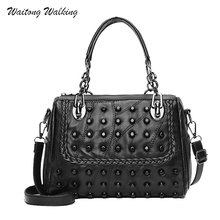 2017 Autumn Fashion Womens Messenger Bags Designer Rivet Leather Bosston Handbags Female Motorcycle Punk Bag Bolsa a008(China)