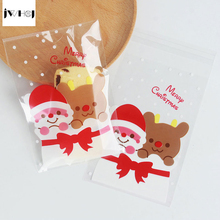 25 pcs/lot 10 X 15 +3 cm Santa Claus adhesive bag cookies diy Gift Bag for Christmas New Year Party Candy Food Packaging bag