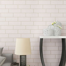 Non-woven Modern 3D Brick Off White Thick Embossed Vinyl Wall covering Wall Paper Roll Background Wall Living room Bedroom