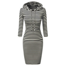 2017 Fashion Women Striped Hoody Hoodie Hooded with Pockets Spring Summer Wear Bodycon Soft Casual Pencil Dress