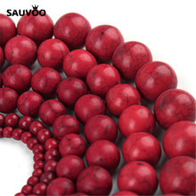 SAUVOO 1Strand/lot Red Bead Beads 4MM 6MM 8MM 10MM 12MM 14MM 16MM Round Natural Bead Stone Bead for DIY Jewelry Making(China)