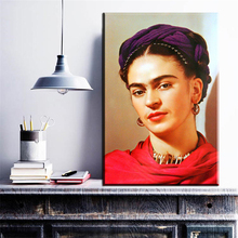 ZZ152 self portrait with necklace Figure Painting American Style Frida Kahlo Spray Frameless Oil Painting Unframed Canvas art(China)