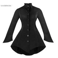 Charmian Women's Winter Gothic Vintage Jacket Long Sleeve Button Down Black Jacket Basic Coat Casual Stand Neck Jacket