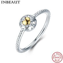 INBEAUT Korean Fashion Princess Love Engagement Ring for Girls 925 Sterling Silver Golden Heart Ring Trendy Jewelry Party Gift(China)