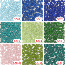 200g Crystal Glass Free Stone Blue Mosaic tile_ backsplash kitchen wall tile sticker bathroom floor feet massage tile(China)