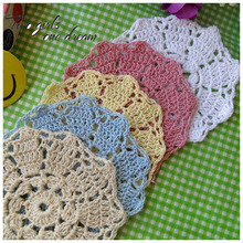 DIY Placemat Flower Dinner Decor Coaster Flower Holder Clothes Accessory 10CM Handmade Crochet Table Lace Doily Cup Pad 40pcs/lo