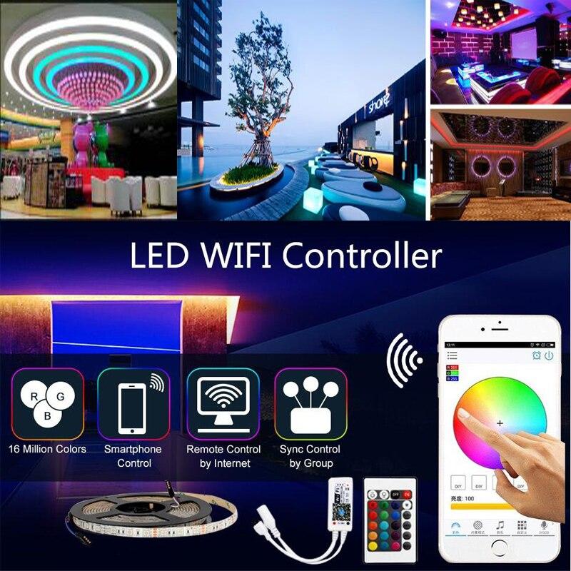 LED Strip SMD 5050 RGB LED Light Lamp 220V 5M 10m 15m 60ledm diode Flexible Leds tape diode wifi controller DC 12V adapter set  (2)