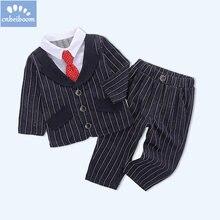 Crianças Meninos Roupa Do Bebê Terno Formal outono inverno Mangas roupas  Cavalheiro 2 pcs Conjuntos de Roupa Infantil para Crian. eac63faaa51