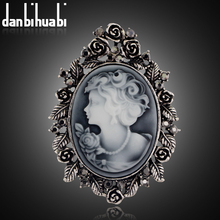 danbihuabi Vintage Brooches For Women Elegant  Silver color Trendy Beauty Head Cameo Brooch Austria Crystal