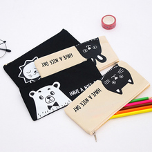 Cute animal lion contracted Pencil Bag papelaria canvas Pencil Case stationery material escolor school supplies